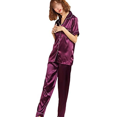 Conjunto de pijama para mujer, pijama de satén de seda, pijama de solapa, manga larga, primavera 2 piezas, color morado 4XL