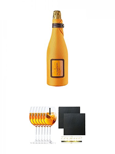 Veuve Clicquot Brut Champagner in Ice Jacket 0,75 Liter + Scavi & Ray Prosecco Sprizzione (kein Grünstich) Rastal Glas 6 Stück + Schiefer Glasuntersetzer eckig ca. 9,5 cm Ø 2 Stück
