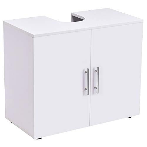 Bathroom Non Pedestal Under Sink Vanity Cabinet Multipurpose Freestanding Space Saver Storage Organizer Double Doors with Shelves, White