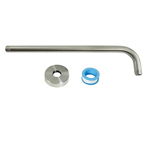 15 Inch Shower Arm, NearMoon Extra Fixed Arm with Flange, Stainless Steel Wall-Mounted ShowerHead Arm, Brushed Nickel