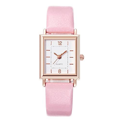 xy 2020 Vintage cinturón Reloj Simple Cuadrado Escala dial Damas Moda Reloj de Cuarzo Moda Relojes Relojes de Cuero Cuarzo retrajo Mujer (Color : D)