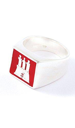 Hamburg Schmuck Ring TPR002 Silber rot, Farbe:rot;Ringgröße:54