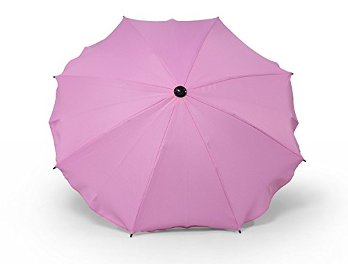 Sombrilla y paraguas universal para carros y sillas de bebé, con soporte universal, protección contra rayos UV 50+ rosa Rosa