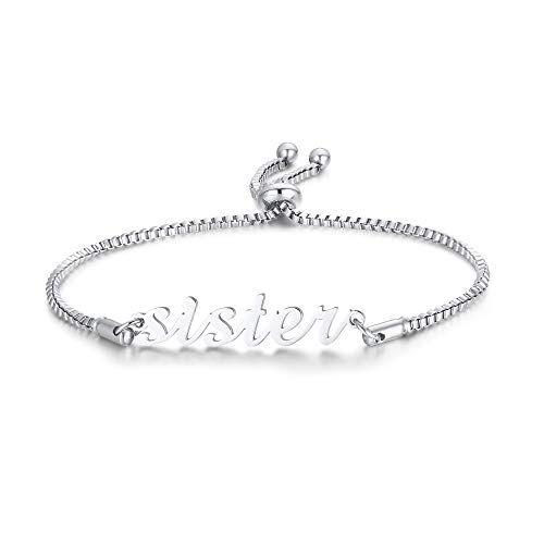 VNOX Sister Gift Adjustable Bracelet for Women Lady BFF Soul Sister Bracelet,Stainless Steel Bracelet for Women,Birthday Gift for Her