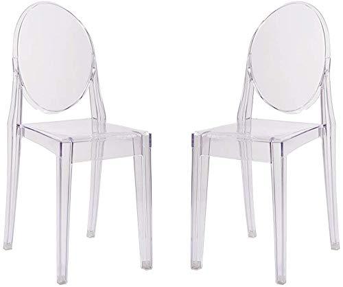 Silla de estilo de fibra de policarbonato comedor moderna silla transparente, de cuatro piezas,A