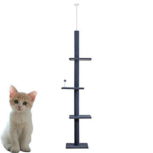 WAFOR krabpalen voor katten tot aan het plafond 240Cm-288Cm (Meet uw plafond) Cat activiteit krabpaal boom | Bevat 3 krabpalen touw | Grote kattenboom die verlengt indien nodig