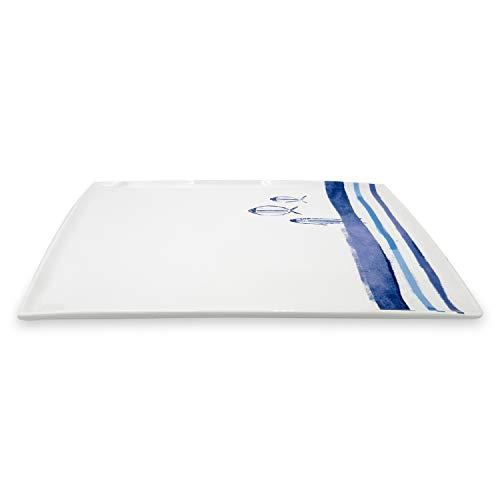 ExtraMaritim Schlemmerplatte - Anrichtplatte oder Servierplatte mit Fischmotiven aus Keramik ca. 41 x 31 x 3 cm