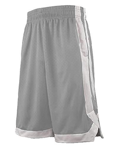 TopTie Herren Sport Shorts, Basketball Trainingsshorts Kurze Sporthose mit Taschen-Grau-XL
