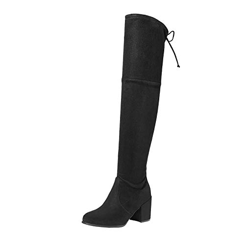 TOETOS Women's Prade-High Black Over The Knee Chunky Heel Boots Size 5.5 M US