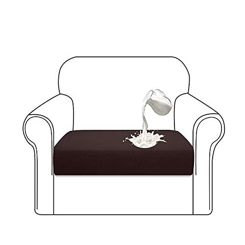 Luxurlife Premium wasserabweisender Sofa-Sitzkissenüberzug, hoher Stretch, Sofa-Sitzbezug, Möbelschutz für 1-Sitzer-Sofa mit elastischer Unterseite (1-Sitzer, Schokolade)
