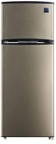 RCA RFR725 EFR749 2 Door Apartment Size Refrigerator with Freezer, 7.5 cu. ft, Platinum, Stainless