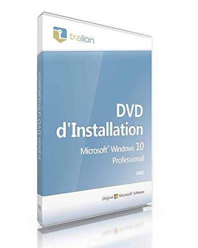 Original Microsoft® Windows 10 Professional, Tralion-DVD. 64 bit, incl. documents de licence, Audit-vérification, incl. Key, français