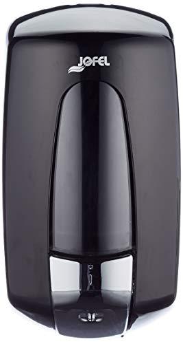 Jofel AC70600, Dosificador de Jabón Aitana con Pulsador Cromado, 1 L, Negro