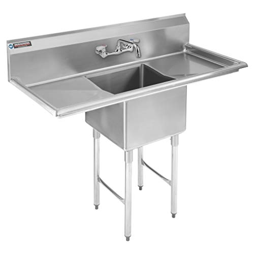 Stainless Steel Kitchen Sink with Faucet - DuraSteel 1 Compartment Commercial Utility Sink w Double Drainboards -18 x 18 x 12 Bowl Size - For Restaurant Laundry Garage Backyard - NSF Certified