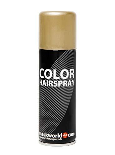 Maskworld Color Haarspray für farbig buntes Haar - Gold - Color Farbspray zum Verkleiden & Schminken für Karneval, Fasching, Halloween & Motto-Party