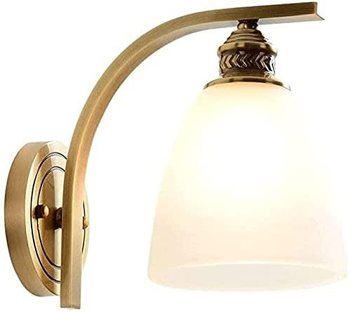 Wlnnes Pasillo Todas las lámparas de la luz de la pared de cobre, Luz de pared Lámpara de vidrio moderna Lámpara de pared de latón, lámparas montadas en la pared para sala de estar Lámparas de lavado