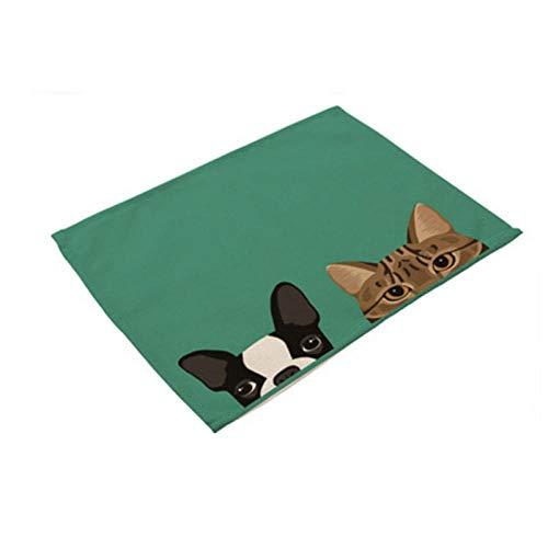 Sottobicchieri Sughero 2 Pz Cane Gatto Cartone Animato Animale Sottobicchieri Tappeti Design Impermeabile Tovaglietta Lino Cotone Tavolo Da Pranzo Accessori Decorazione Piatto Pad Tazza Pet Cane Gatt