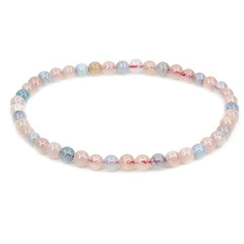 Natural A Grade Morganite Beryl Aquamarine 4mm Round Beads Stretch Bracelet 7' Unisex