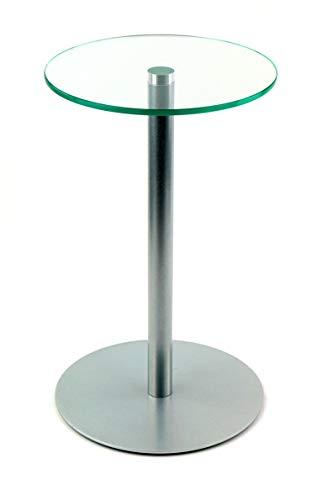 freeroom24 Blumensäule/Beistelltisch/Glastisch/Tisch/rund/Ø 30cm x H. 50cm / Silber Brillant