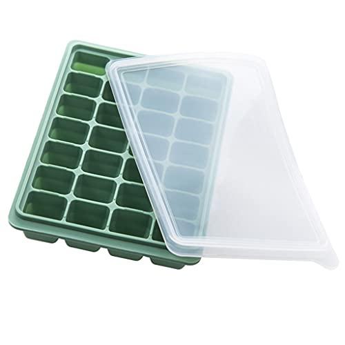SHURROW Bandeja para Cubitos de Hielo de 28 Rejillas Molde para congelador Cubitos de Hielo Molde de Silicona con Tapas Bandeja para Hornear Bambú Verde