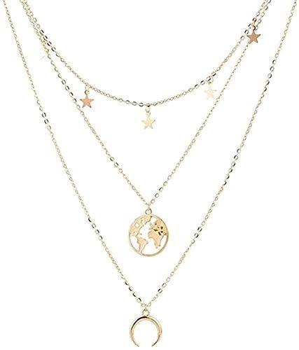 CCXXYANG Co.,ltd Necklace Necklace Vintage Star Map Moon Necklace for Women Gold Color Necklace Multiple Layers Pendant Long Necklaces Boho Jewelry