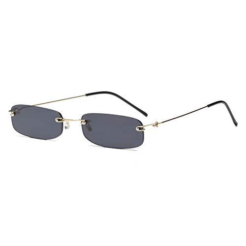 BUYAOAQ Frau Kleine Rahmenlose Sonnenbrille Herren Transparent Lila Blau Rot Orange Sonnenbrille Uv400