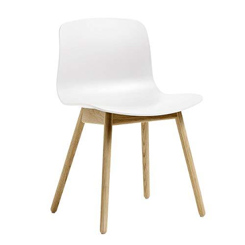 HAY About a Chair AAC 12 Stuhl Eiche matt lackiert, weiß Sitzschale Polypropylen Gestell Eiche massiv matt lackiert mit Kunststoffgleitern