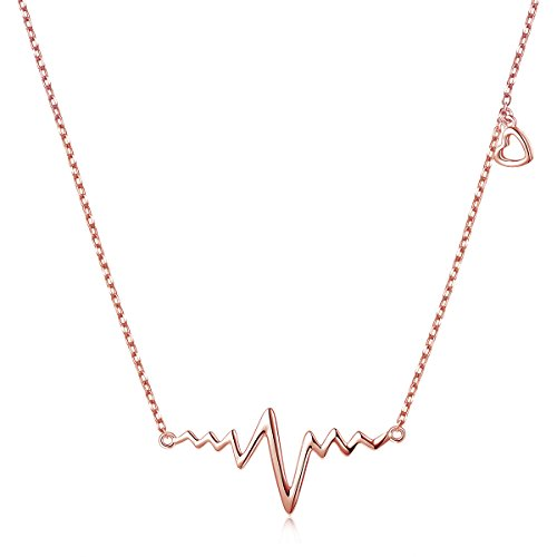 925 Sterling Silver Infinity Love Rose Gold Plated Cardiogram Heart EKG Heartbeat Necklace Gift for...