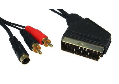 1.5m Scart to RCAx2 + SVHS Cable ~ 24k Gold Plated ~ 4-Pin SVHS (S-Video) ~ Twin RCA (Left & Right Audio) ~ 21-pin (Fully Wired) Scart Connector