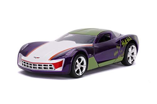 Jada Toys 253252016 Joker 2009 Chevy Corvette Stingray - Coche de Juguete de Die-Cast, Puertas de Apertura, Escala 1:32, Color Morado