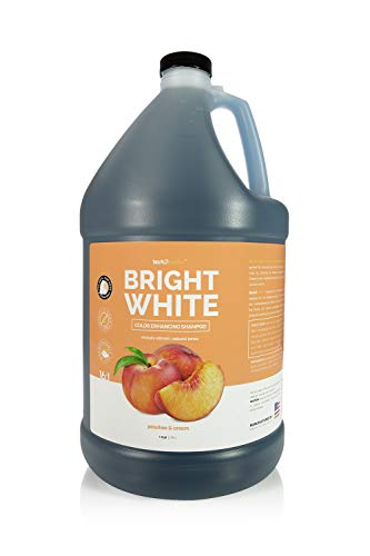 Bark 2 Basics Brighten White Dog Shampoo, 1 Gallon, All Natural Ingredients, Chamomile Extract, Revives Vibrant Natural Color of Skin and Coat, Lustrous Shine, Cruelty-Free