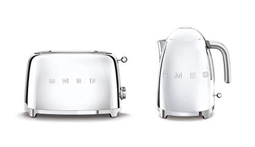 Smeg KLF03SSUK 1.7Ltr - 3kw Kettle and TSF01SSUK 2 Slice Toaster Set in Polished Stainless Steel