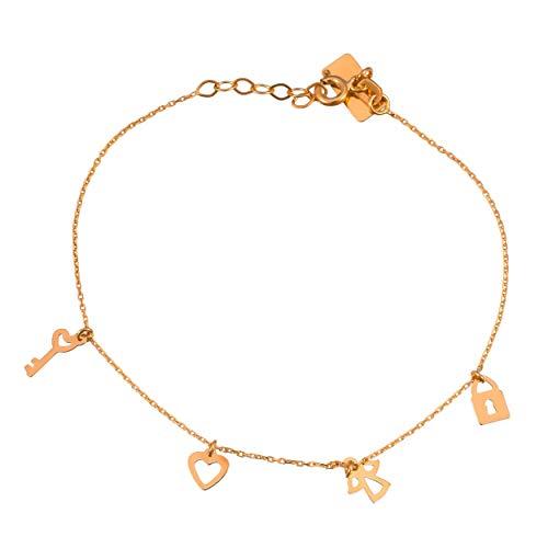 Lumarigold Celebrity 585 Gouden gouden hartvormige engel sleutel hangslot gravure