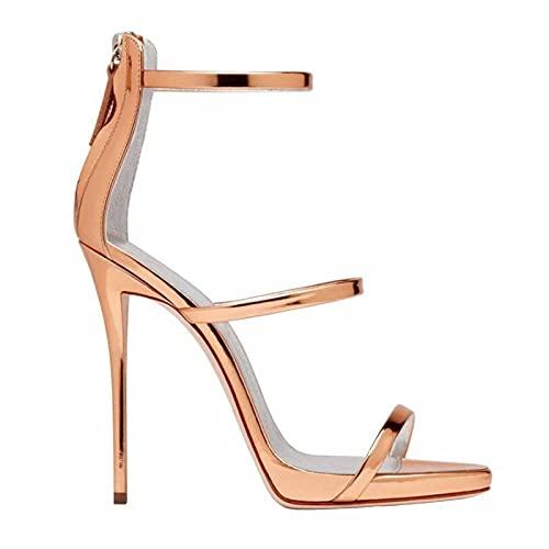 Sandalias De Tacón Alto para Mujer Zapatos De Tacón De Aguja De Fiesta para Mujer De Gran Tamaño Unisex 12CM,Oro,38