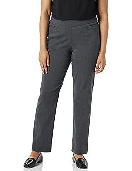 Briggs New York Women s Super Stretch Millennium Welt Pocket Pull on Career Pant Heather Grey 14