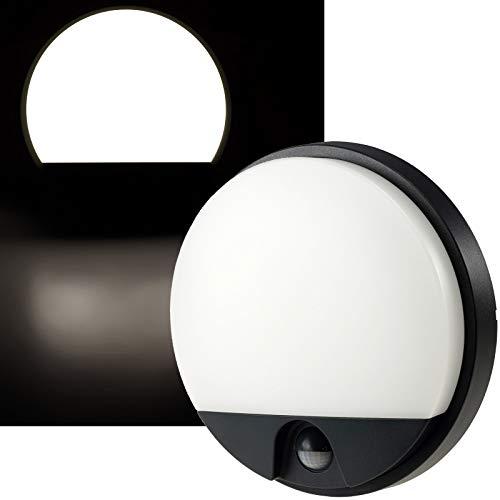 LED Aussenleuchte mit Bewegungsmelder Anthrazit Grau IP54 15W 1150Lumen Wandleuchte mit 140° Sensor 9m Reichweite Rund 230V Ø21x5cm 4000k / Weiß