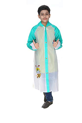 Aristocrat PVC Full Sleeve with Hood Raincoat Poncho Fully Waterproof Durable and Light Weighted for Kids