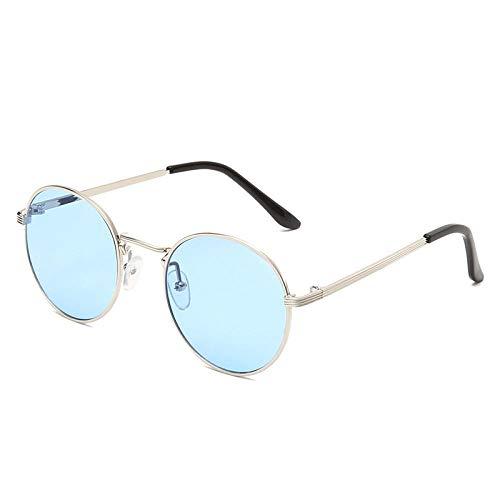 Gosunfly Gafas de sol de montura redonda con borde fino de metal, gafas de sol retro, gafas de sol versátiles, película azul con montura plateada c14