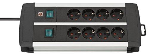 Brennenstuhl Premium-Alu-Line regleta enchufes con 8 tomas de corriente y 2 interruptores individuales (cable de 3 m, interruptor iluminado, Hecho en Alemania) plateado/negro