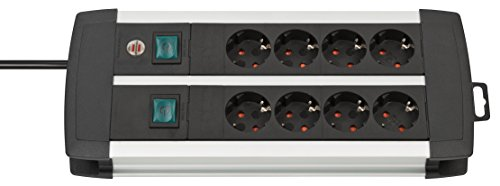 Brennenstuhl Premium-Alu-Line, Steckdosenleiste 8-fach / Steckerleiste aus hochwertigem Aluminium (mit 2 Schaltern für je 4 Steckdosen und 3m Kabel, Made in Germany) silber/schwarz