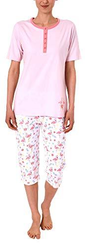 Damen Capri Pyjama Schlafanzug Kurzarm mit Knopfleiste und süssen Flamingo-Motiv 191 204 90 104, Farbe:rosa, Größe2:36/38