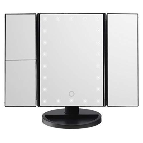 Heall Maquillaje LED Espejo tríptico de Maquillaje Espejo de baño Multi Función 10X Lupa de sobremesa Viaje del Espejo cosmético con el Espejo Negro Luz Accesorios de Belleza