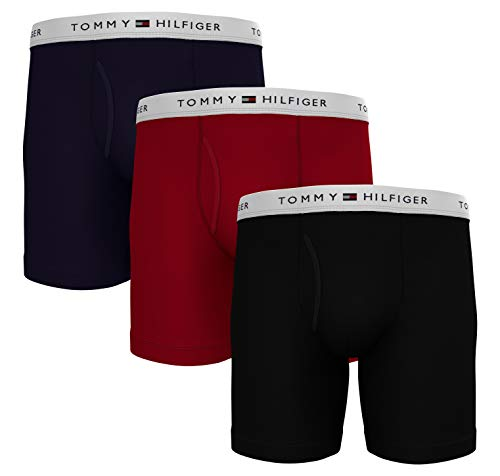 Tommy Hilfiger Men's Underwear Multipack Cotton Classics Boxer Briefs, Navy Blazer/Tango Red/Black, S