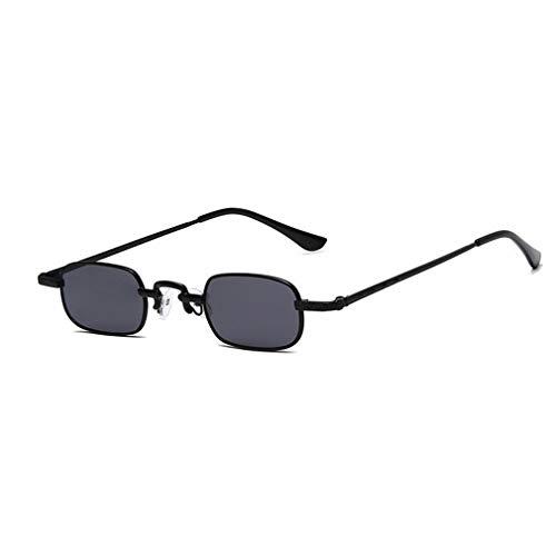 Gafas de Sol Retro Punk con Montura pequeña, Gafas de Sol cuadradas Transparentes de Metal (Negro + Gris)