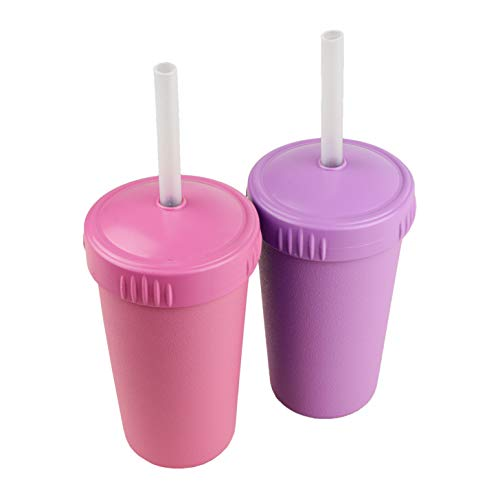 Re-Play Made in USA 2pk Silicone Straw Cup | Made from Eco Friendly Heavyweight Recycled Milk Jugs - Virtually Indestructible | Dishwasher Safe Easy Clean 9' Silicone Straws | Bright Pink, Purple