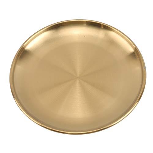 Fengshop Platos Placas de Cena de Estilo Europeo Placa de Comedor de Oro Sirviendo Platos Placas Redondas Tray Bandeja Occidental Bandeja Redonda Platos de Cocina Platos de Cena (Diameter : 23cm)