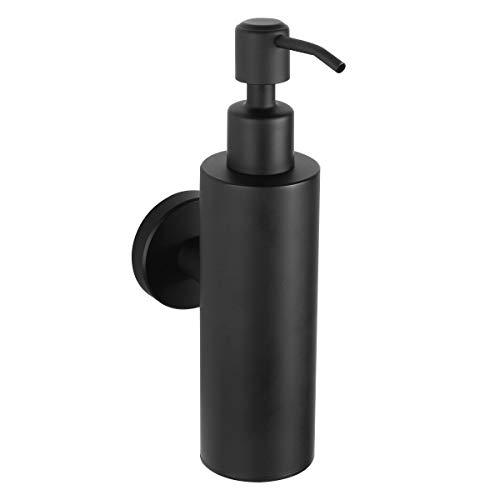 Dispensador de jabón FRAP, bomba montada en la pared loción champú masaje aceites dispensadores recargables para baño cocina acero inoxidable 304, negro mate