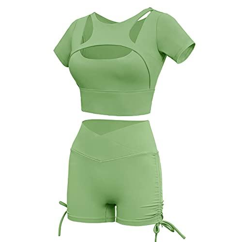 Traje de dos piezas para mujer, sexy, bodycon de color sólido, manga corta, recortado + pantalones cortos de levantamiento de glúteos, trajes deportivos de yoga, verde, S