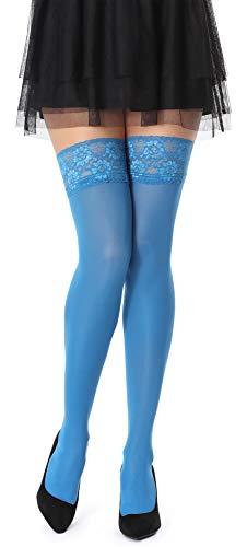 Bellivalini Collant Bas Autofixant en Microfibre Femme 60 DEN BLVFI1005 (Bleu Parisien, XL (Taille du Fabricant: 5))