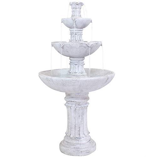 Sunnydaze 3-Tier Outdoor Water Fountain - Grecian Column Design - Glass Fiber Reinforced Concrete Construction - White - 60-Inch Tall - Loud Backyard Water Feature for Patio, Garden, or Yard